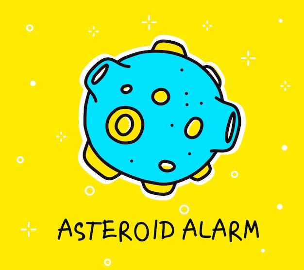 Kolorową Ilustracją Dużej Niebieskiej Asteroidy Premium Wektorów