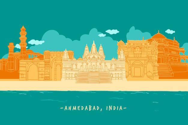 Kolorowa Ilustracja Panoramę Ahmedabad Darmowych Wektorów