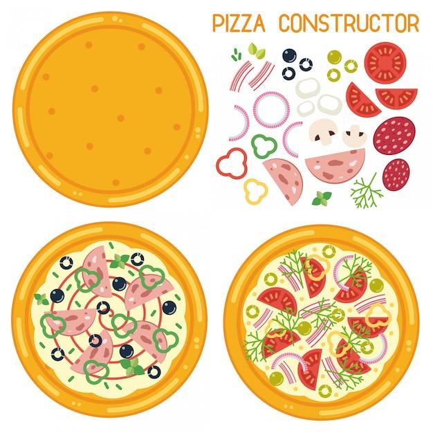 Kolorowa Ilustracja Pizza Konstruktor. Podstawa Do Pizzy W Stylu Płaski Ze Składnikami Premium Wektorów