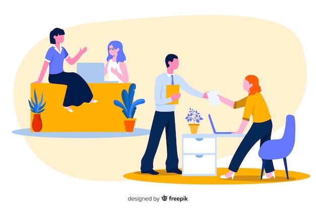 Kolorowa ilustracja urzędnicy siedzi przy biurkami Darmowych Wektorów