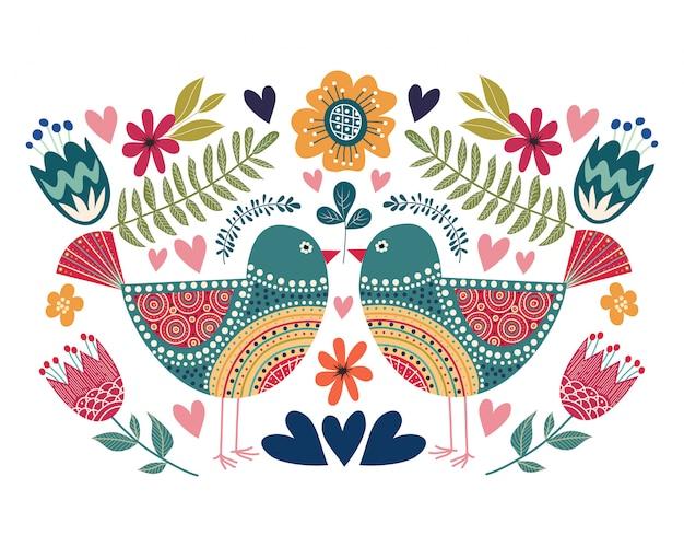 Kolorowa ilustracja z para ptakiem, kwiatami i ludowymi projektów elementami Premium Wektorów