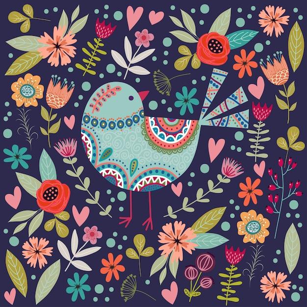 Kolorowa Ilustracja Z Pięknym Abstrakcjonistycznym Ludowym Ptakiem I Kwiatami. Premium Wektorów
