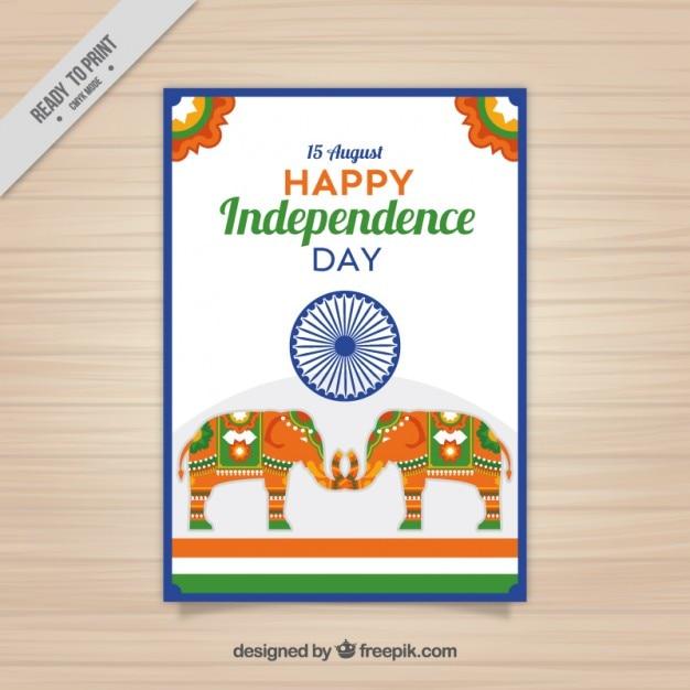 Kolorowa indyjska dzień niepodległości broszura Darmowych Wektorów
