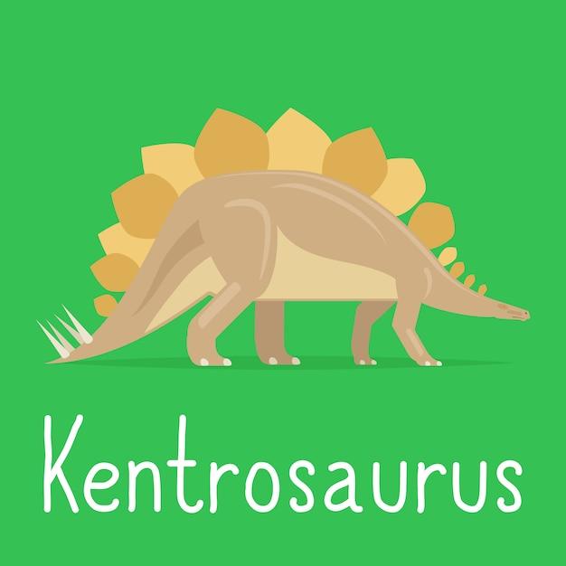 Kolorowa Karta Dinozaura Kentrosaurus Dla Dzieci Premium Wektorów