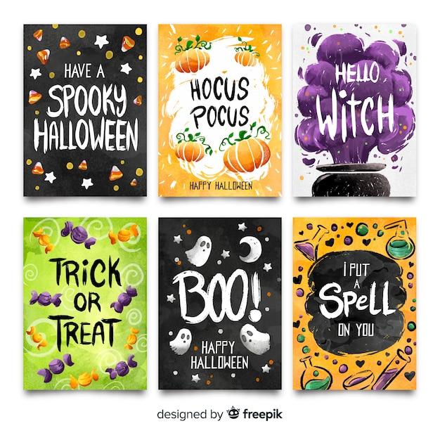 Kolorowa kolekcja akwarela halloween karty Darmowych Wektorów
