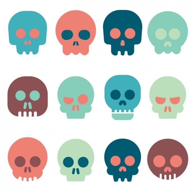 Kolorowa Kolekcja Ikon Czaszki Darmowych Wektorów
