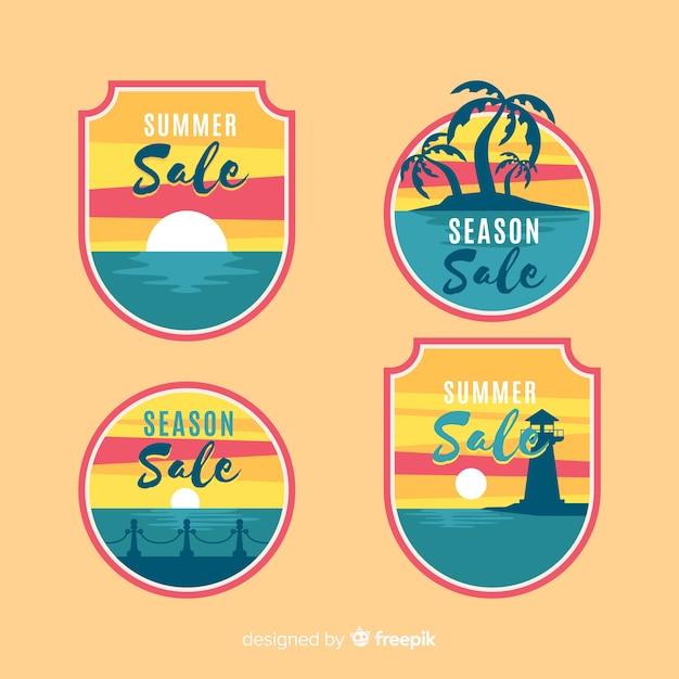 Kolorowa Kolekcja Lato Sprzedaż Etykiet Darmowych Wektorów