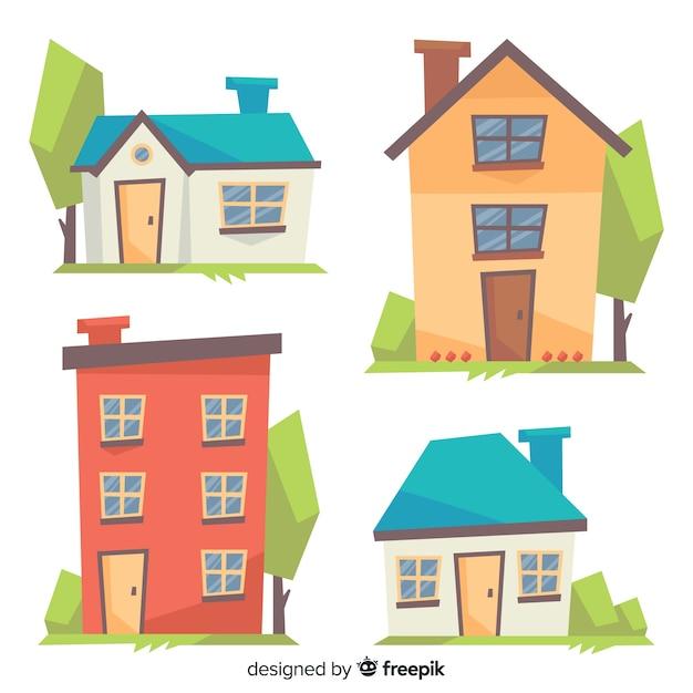 Kolorowa Kolekcja Mieszkaniowa Ze Stylu Cartoon Premium Wektorów