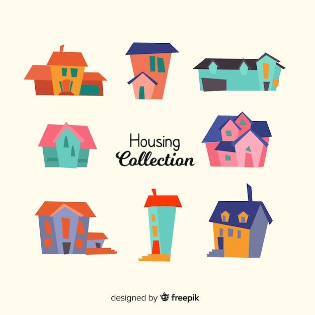 Kolorowa kolekcja mieszkaniowa ze stylu cartoon Darmowych Wektorów