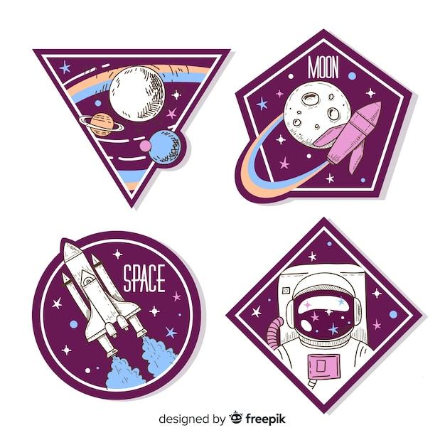 Kolorowa kolekcja naklejek kosmicznych Darmowych Wektorów