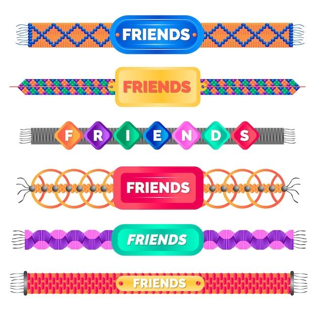 Kolorowa Kolekcja Opasek Przyjaźni Darmowych Wektorów