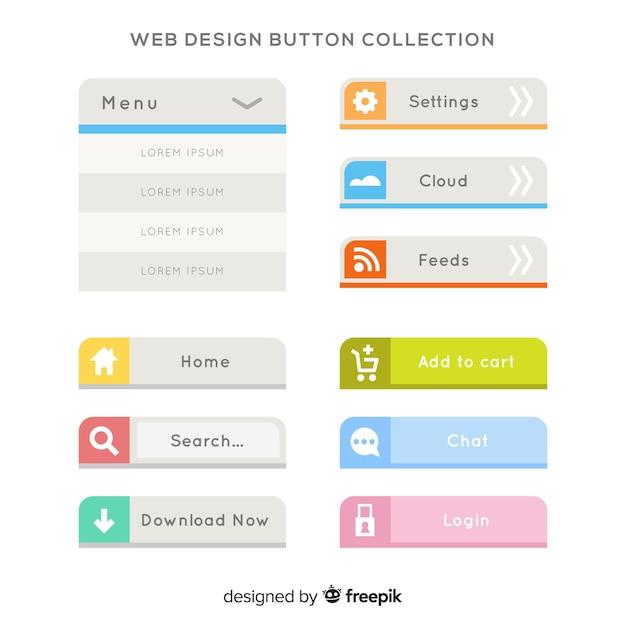 Kolorowa Kolekcja Przycisk Web Design Z Płaska Konstrukcja Darmowych Wektorów