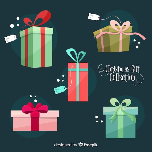 Kolorowa kolekcja pudełka prezent boże narodzenie w płaska konstrukcja Darmowych Wektorów