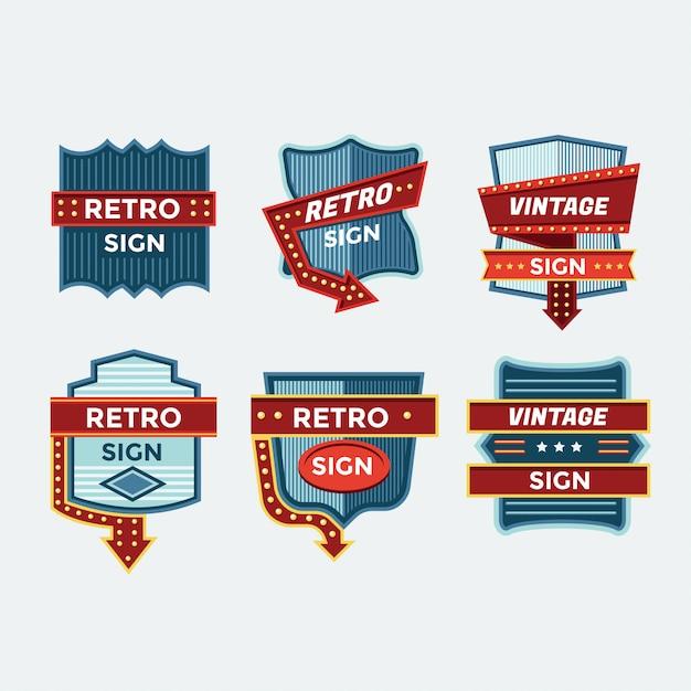 Kolorowa Kolekcja Retro Znaki I Vintage Neony Premium Wektorów