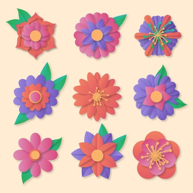 Kolorowa Kolekcja Wiosennych Kwiatów W Stylu Papieru Darmowych Wektorów
