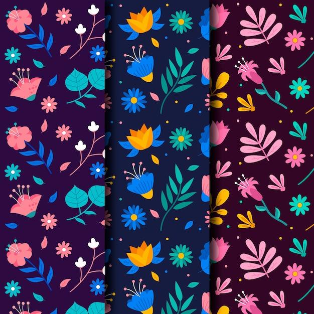 Kolorowa Kolekcja Wiosna Kwiatowy Wzór Darmowych Wektorów