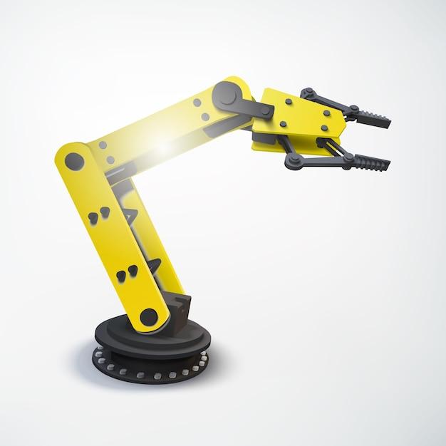 Kolorowa Koncepcja Inżynierii Przemysłowej Z Realistycznym Mechanicznym Ramieniem Robota Na Białym Tle Darmowych Wektorów
