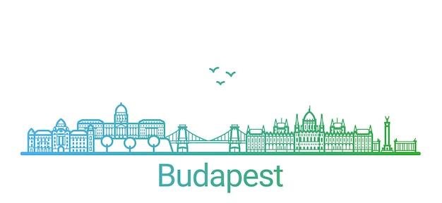 Kolorowa Linia Gradientu Miasta Budapeszt Premium Wektorów