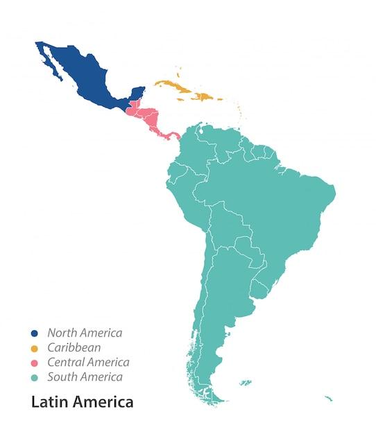Kolorowa mapa ameryki łacińskiej. Premium Wektorów