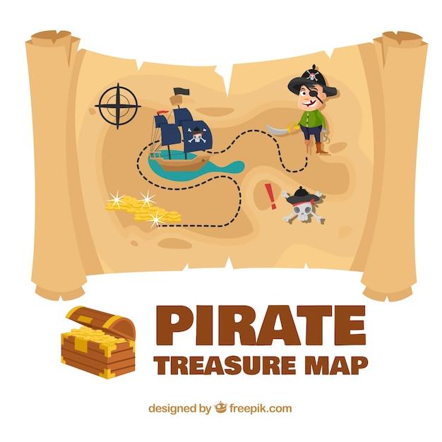 Kolorowa mapa piratów skarbu Darmowych Wektorów