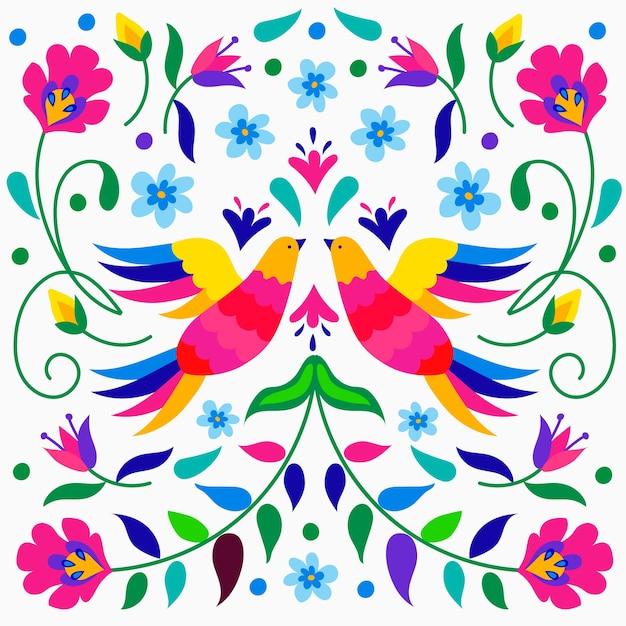 Kolorowa Meksykańska Tapeta Z Ptakami Darmowych Wektorów