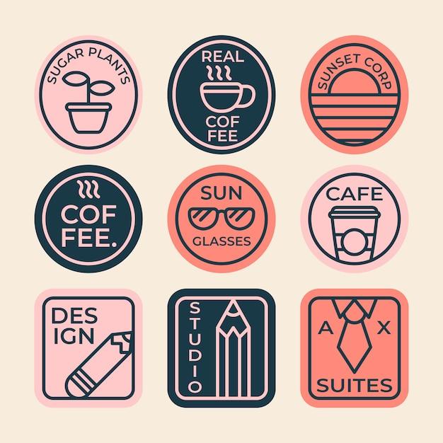 Kolorowa minimalistyczna kolekcja logo kawy w stylu retro Darmowych Wektorów