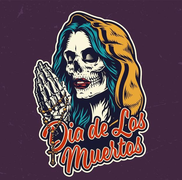 Kolorowa Plakietka Dia De Los Muertos Darmowych Wektorów