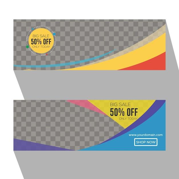 Kolorowa Przezroczystość E-commerce Kup Teraz Banery Premium Wektorów