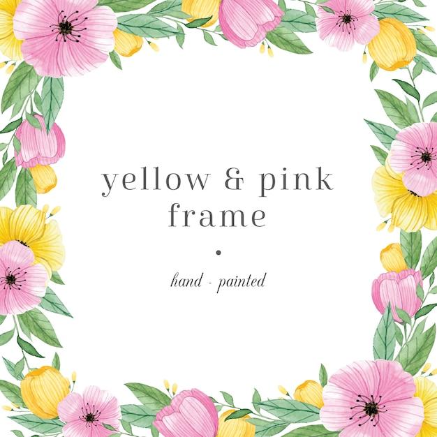 Kolorowa Ręcznie Malowana Ramka Z Kwiatami Premium Wektorów