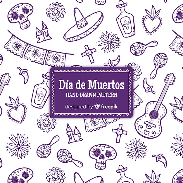 Kolorowa ręka rysująca día de muertos deseniowa kolekcja Darmowych Wektorów