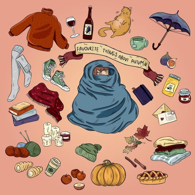 Kolorowa Ręka Rysująca Doodle Kreskówka Ustawiająca Jesień Przedmioty I Symbole. Październikowy Nastrój Premium Wektorów