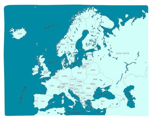Kolorowa Ręka Rysująca Wektorowa Mapa Europa Premium Wektorów