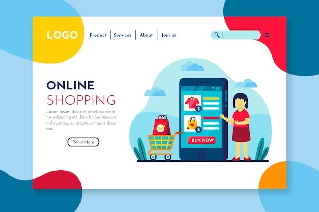 Kolorowa Strona Docelowa Dla Osób Kupujących Online Darmowych Wektorów