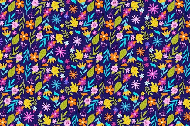 Kolorowa tapeta w kwiatowy wzór Darmowych Wektorów