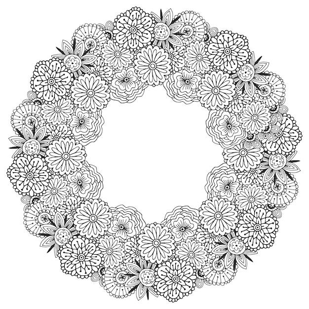 Kolorowanka dla dorosłych. wektor rama z abstrakcjonistycznym kwiatu wzorem. kwiatowy wzór do dekoracji lub pakowania okładek Premium Wektorów