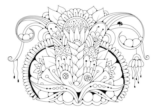Kolorowanka Dla Dzieci I Dorosłych W Stylu Doodle Z Kwiatami I Biedronką. Czarno-biała Ilustracja Do Kolorowania. Premium Wektorów