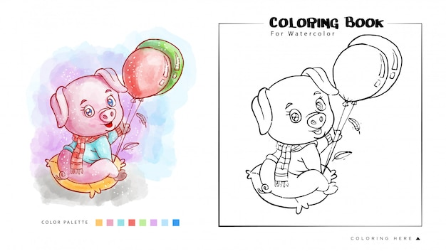 Kolorowanka śliczna świnia Bawić Się Balon Z Szczęśliwą Twarzy Akwareli Ilustracją Premium Wektorów