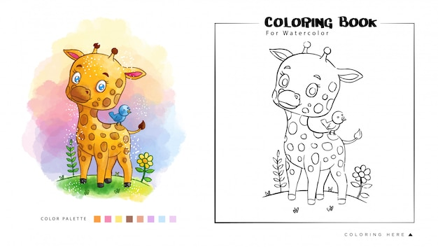Kolorowanka śliczna żyrafa W Lesie Z Błękitną Ptasią Akwareli Ilustracją Premium Wektorów