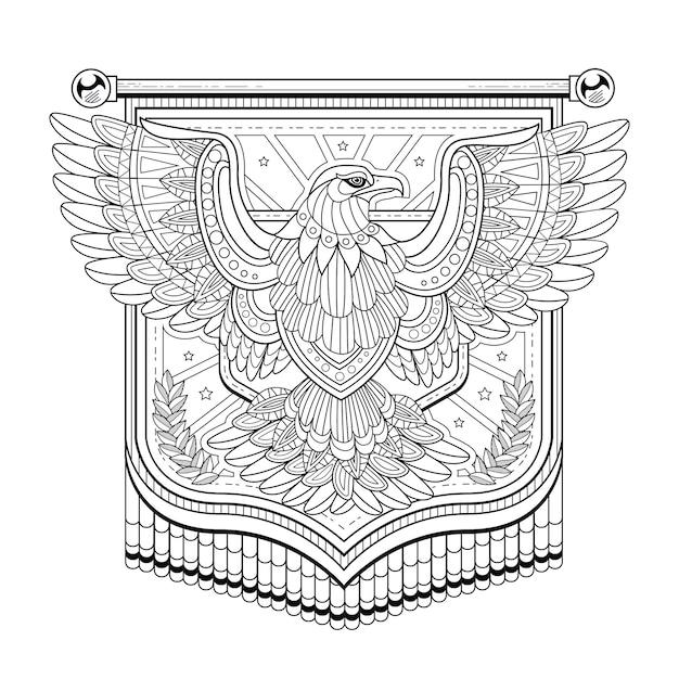 Kolorowanka Z Flagą Orła W Wyśmienitym Stylu Premium Wektorów