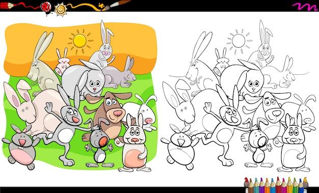 Kolorowanka zabawne postacie zwierząt królików Premium Wektorów