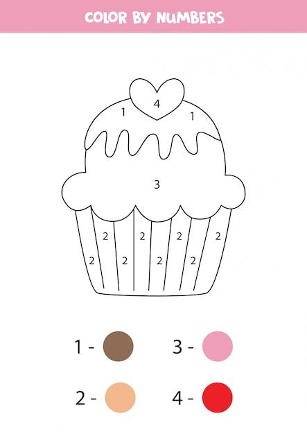Kolorowanki Dla Dzieci. Ciastko Kreskówka Kolor Według Liczb. Premium Wektorów