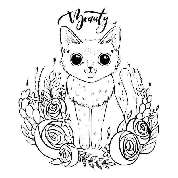 Kolorowanki Z Kreskówki Puszysty Kot Z Różami. Kot Syjamski Z Otwartymi Oczami I Kwiatami. Premium Wektorów