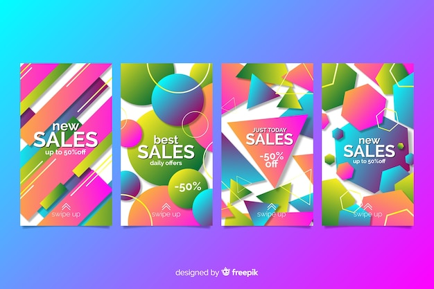 Kolorowe abstrakcyjne historie sprzedaży na instagramie Darmowych Wektorów