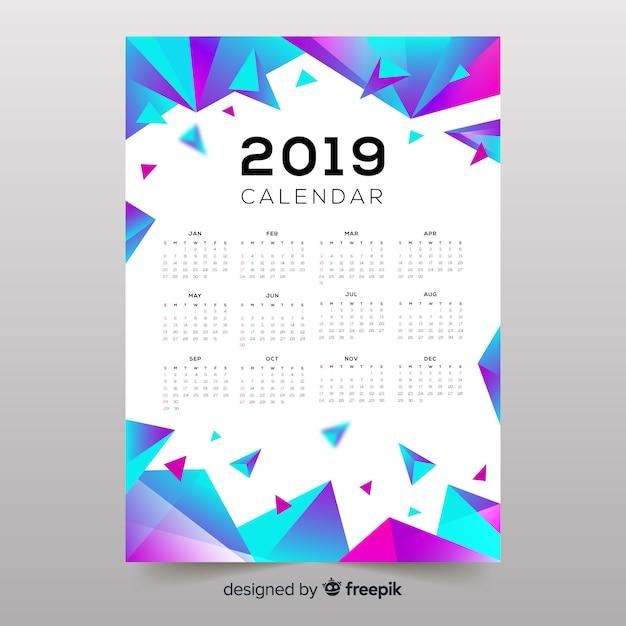 Kolorowe abstrakcyjne kształty 2019 kalendarza Darmowych Wektorów