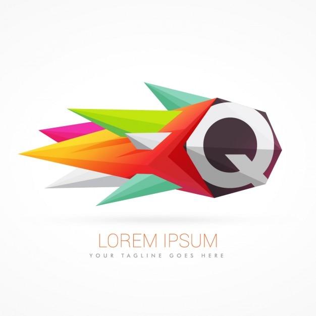 Kolorowe abstrakcyjne logo na literę q Darmowych Wektorów