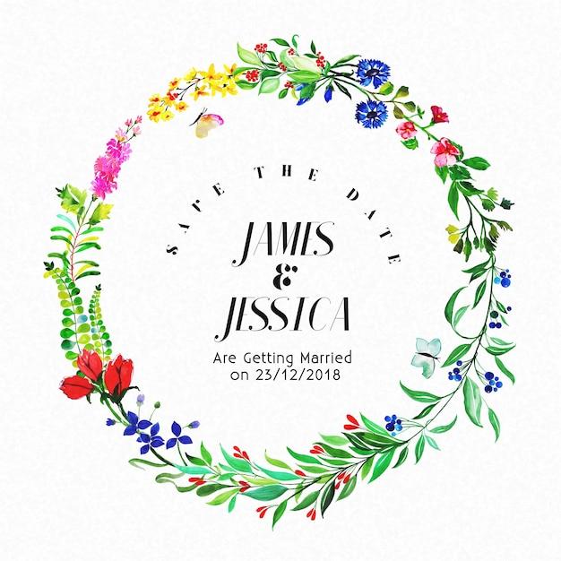 Kolorowe Akwarele Floral Wedding Invitation Frame Uniwersalna karta Darmowych Wektorów