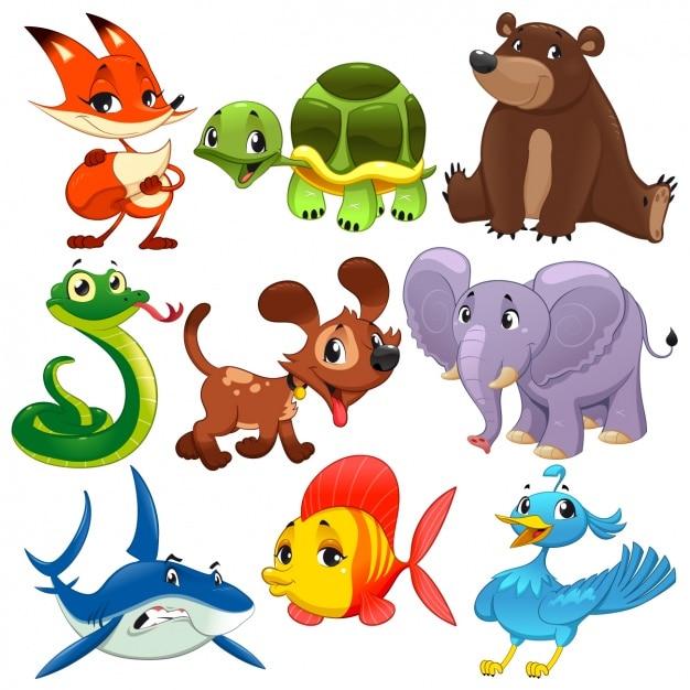 Kolorowe animals collection Darmowych Wektorów