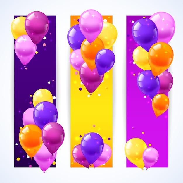 Kolorowe balony banery pionowe Darmowych Wektorów