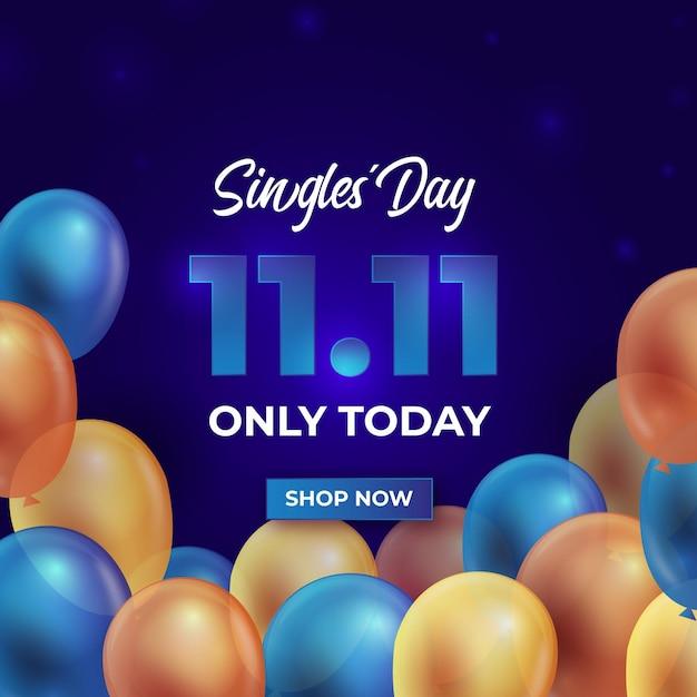 Kolorowe Balony Obchody Dnia Singla Darmowych Wektorów