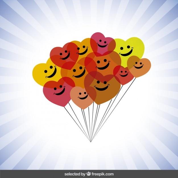 Kolorowe balony szczęśliwe Darmowych Wektorów